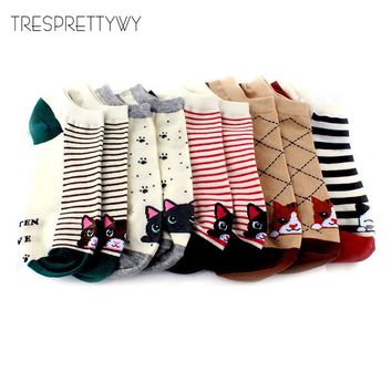 TRESPRETTYWY Summer Women Cute Cartoon Pattern Ankle Socks Female Fashion Invisible Cotton Socks Ladies Boat Socks 10pcs=5pairs