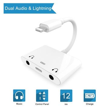Newest For Lightning to Dual 3.5mm Headphone Jack Audio and Charging Adapter 3 in 1 Charging 3.5mm Splitter For iPhone X 8 7 6 P