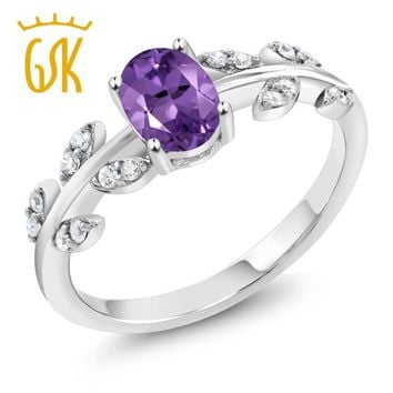 GemStoneKing 0.96 Ct Oval Purple Amethyst 925 Sterling Silver Olive Vine Ring Anniversary Gift Birthday Present Natural Crystal