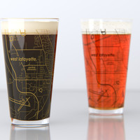West Lafayette, IN - Purdue - College Town Map Pint Glass Set