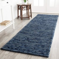 "Safavieh Bohemian Collection BOH525G Hand-Knotted Dark Blue and Multi Jute Runner (2'6"" x 8')"