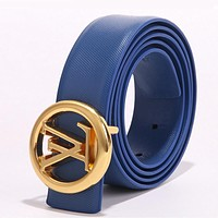 LV Louis Vuitton Woman Men Fashion Smooth Buckle Leather Belt Blue