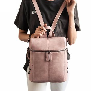 Simple Style Backpack Women PU Leather Girls School Bags