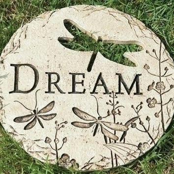 """12"""" Dragonfly Cut-Out """"Dream"""" Decorative Garden Patio Stepping Stone"""