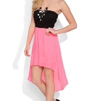 Strapless High Low Dress with Black Lace Bodice and Open Bow Back