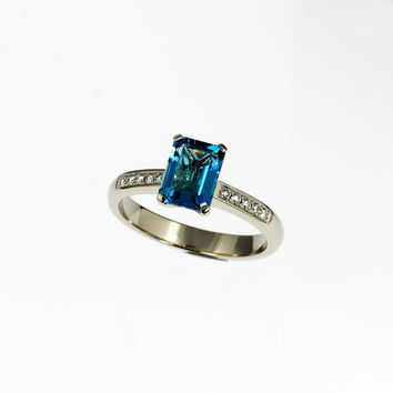 Swiss  blue topaz, white gold, engagement ring, solitaire, blue, thin, custom, blue engagement, huge gemstone, blue topaz, emerald cut