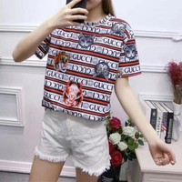 Gucci Personality Multicolor Stripe Letter Cat Tiger Head Print Women Casual Short Sleeve T-shirt Top Tee