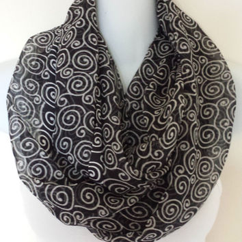 Swirls Chiffon Infinity Scarf Spring Scarves Fashion Scarf Black Circle Scarves Eternity Loop Womens Scarves Pattern Scarf