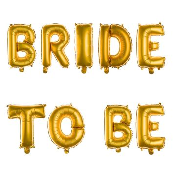 BRIDE TO BE Non-Floating Letter Balloons - 13 Inch Gold