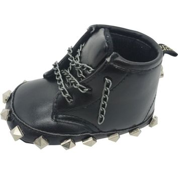Baby Shoes  Punk Metal Lace-Up Rivet Skull  Doc Martin Boots