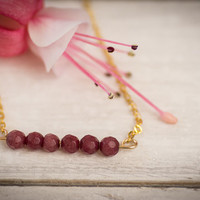 Ruby necklace, ruby gems, simple necklace, gold filled necklace, ruby bar necklace