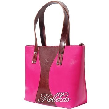 Large Fuchsia Pink Italian Genuine Leather Handbag/Shoulder Bag