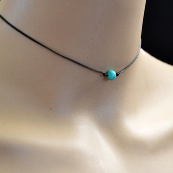 TURQUOISE Choker ADJUSTABLE Choker Black Cord Choker Boho Choker Necklace - Adjustable ANY Size  - Minimalist  - Simple Chic