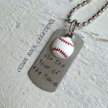 Hand Stamped Pendant With Baseball Necklace - for the love of the game
