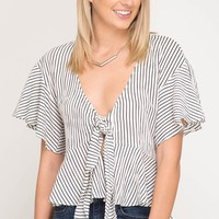 Short Flare Sleeve Striped Top with Front Tie - Off White