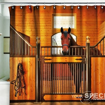 "Bath Shower Curtain horse stable stabling barn cowboy 60""x75"" (150x190cm)"