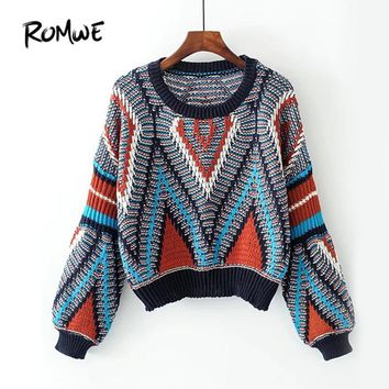 Women Multi  Color Vintage Casual Pullover Fall Long Sleeve Winter Sweater