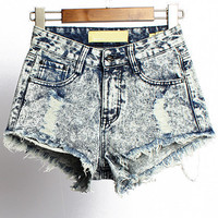 Blue High Waist Fringed Ripped Denim Shorts