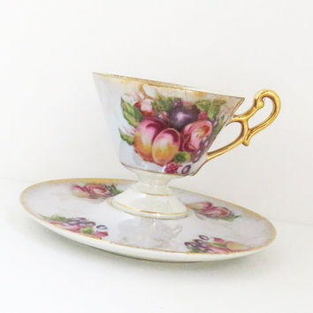 Vintage Royal Halsey very fine fruit tea cup saucer - Colorful footed lusterware tea cup saucer with gold trim