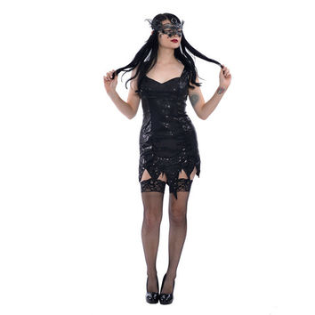 Sequin Dress with Tattered Bottom