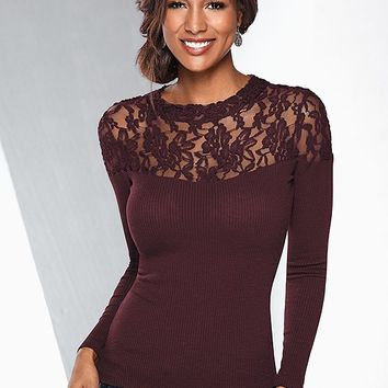 Lace Neckline Detail Top in Dark Red | VENUS