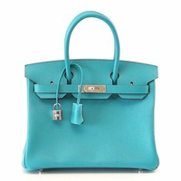 Hermes Birkin 30 Bag Blue Paon Epsom Leather