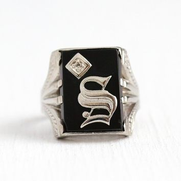 S Signet Ring - Vintage 14k White Gold Diamond Initial S Monogram - Art Deco 1930s Size 10 Black Onyx Letter Fine Men's Women's Jewelry