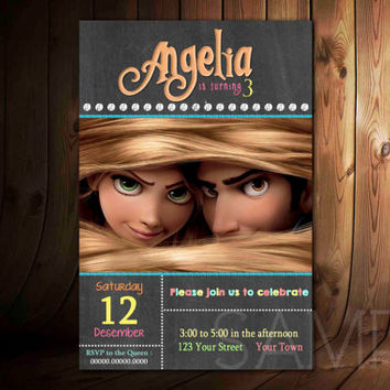 Disney Tangled Rapunzel Chalkboard Birthday Invitation
