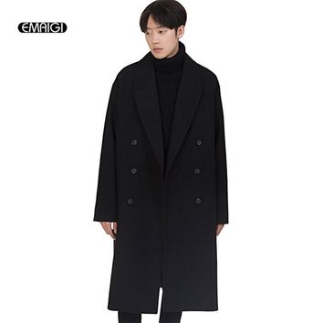 Autumn Winter Wool Jacket for Men Fashion Casual Loose Woolen Overcoat Male Double Breasted Long Coat Mens Outerwear
