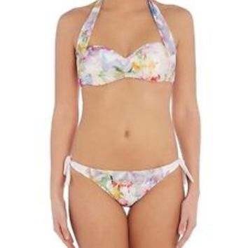 NWT TED BAKER LONDON HANGING GARDENS HALTER BIKINI TOP BABY PINK SIZE SmallD $75