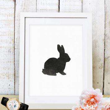 60% OFF SALE Rabbit Print, Nursery Art, Printable Wall Art, rabbit art, digital Download, Nursery Wall Art, Black, Rabbit Silhouette