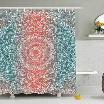 Coral & Teal Boho Mandala Fabric Shower Curtain