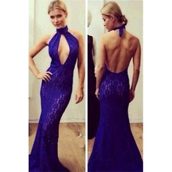 Blue Lace O Neck Cocktail Mermaid Long Dress