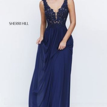 Sherri Hill Navy Long V- Neckline Dress 50255
