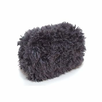 Gray Faux Lamb Fur Purse