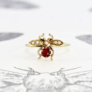 ONETOW Victorian Ruby and Pearl Bug Ring, 14k Yellow Gold Antique Insect Bee Fly Bohemian Bri