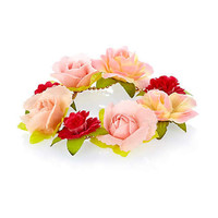 Pink flower garland anklet - body chains / accessories - jewellery - women