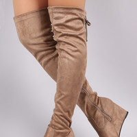 Suede Drawstring Tie Over-The-Knee Wedge Boots