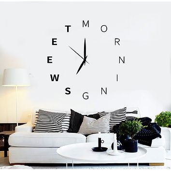Vinyl Wall Decal Words Sweet Morning Clock Time Home Art Stickers Mural (g2731)