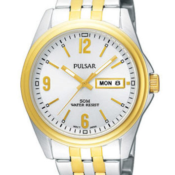 Pulsar Two-Tone Day/Date Mens Watch - Silver-Tone Dial - Bracelet - 50M WR