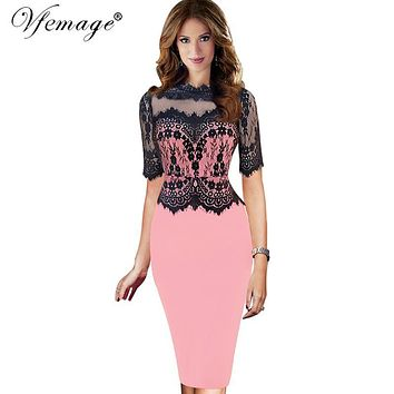 Vfemage Women Sexy Vintage Floral Lace Peplum Patchwork Half Sleeve See Through Mesh Evening Party Sheath Fitted Dress 1796