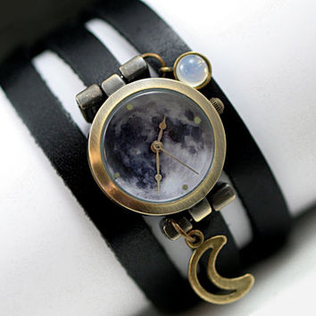 NEW - MOONLIT NIGHT Watch. Genuine leather wrap watch. Full moon imprinted watch head, vintage opal stone and crescent moon charm.