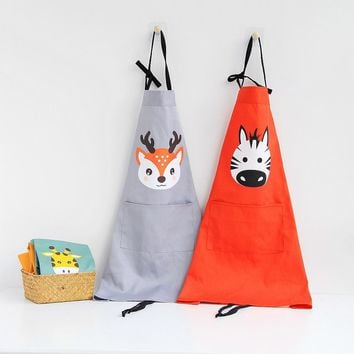 cute cartoon animal Parenting Apron cotton washing Kitchen baking pinafore kid draw antifouling bib Kindergarten Student aprons