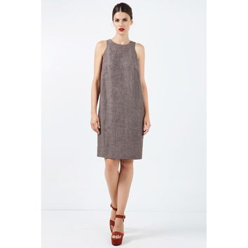 Sleeveless Brown Linen Sack Dress