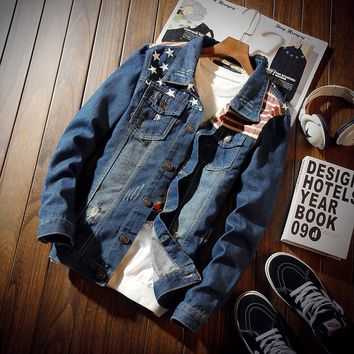Trendy 2018 Spring and Autumn Stars and Stripes Denim Jacket Men Fashion restore ancient ways Hole Jacket Casual Jeans Clothing 3XL AT_94_13
