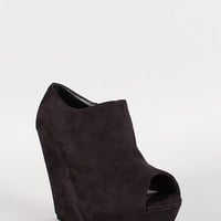 Side Zipper Faux Suede Platform Open Toe Wedge
