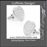 Men's Cufflinks- Silver Plated Police Badges