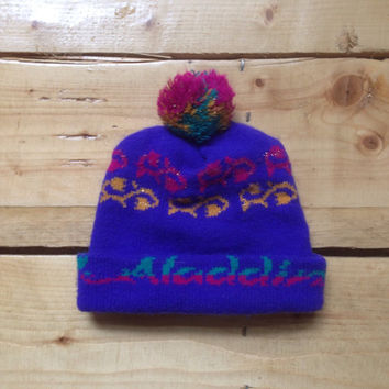 Vintage 90s Disney's Aladdin Script Purple Beanie / Toque / Winter Ski Hat