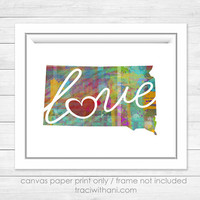 South Dakota Love - SD Canvas Paper Print:  A Modern and Colorful Abstract Watercolor Style Original Art Piece / Home State Love Map