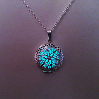 Aqua Glowing Necklace, Glowing Jewelry,  Glow in the Dark Pendant , Gift for Her, Gift ideas